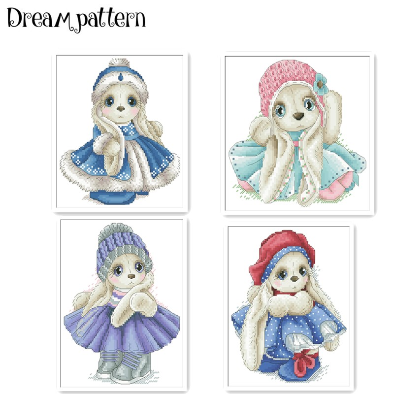 Winter Rabbit In Coat Cross Stitch Package Cartoon Animal 18ct 14ct 11ct Cloth Cotton Thread Embroidery DIY Handmade Needlework