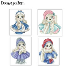 Package Cross-Stitch Cotton-Thread Rabbit Cloth 18ct Embroidery Diy Animal Handmade Needlework