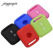 Jingyuqin zdalnego kluczyki silikonowe etui do Qashqai Nissan Micra Navara Almera uwaga Fob gumowe etui 2 przycisk