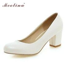 ขนาดใหญ่ขนาด34-43ผู้หญิงรองเท้ารอบนิ้วเท้าก้อนรองเท้าส้นสูง สุภาพสตรีรองเท้าชุดปั๊มแต่งงานสีขาวส้นสีดำสีเบจสีแดง ส่วนลด