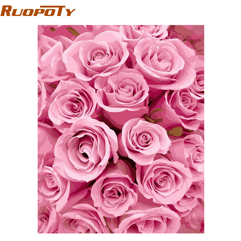 Ruopoty Frame Pink Rose Diy Painting By Numbers Kits Modern Wall Art