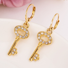 Gold Dubai Charms Jewelry rainstone key drop Earrings for women  brincos Vintage girls kids wedding bridal kids Christmas gift gold african dubai filled women s drop earring flower dangle earring charms jewelry earrings brincos vintage girls kids gift