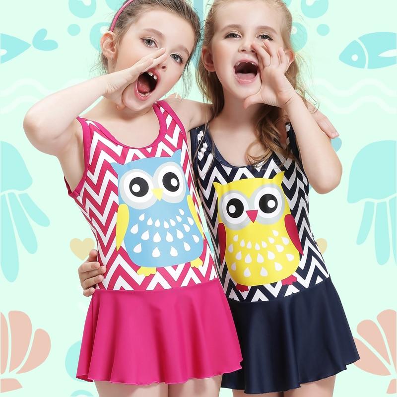 9fadb6b4d7059 Girls One Piece Swimwear Cute Kids Swimsuit Stripe Beach Swim Skirt Children  Swimdress Baby Bathing Suit Toddler Swimming Suits