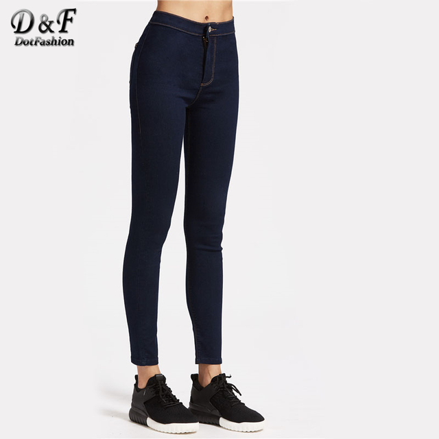 Dotfashion High Rise Skinny Jeans With Top Stitching Navy Zipper Fly High  Waist Long Trousers Women Skinny Basic Jeans d9b368c91e