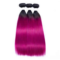 Темный корень розового и красного цвета ombre два тона прямые волосы Расширение 1b розовый волос 3 Связки розовый Косплэй волос расширение