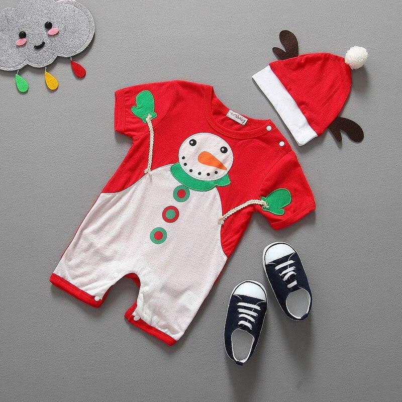 Noel Bebek Tulum Noel Baba Kostüm Kısa Kollu Yenidoğan Erkek Kız Çocuklar Için Tulum Bebek romper + şapka Noel elbise