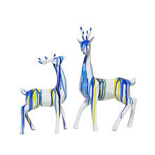 1Set Europe Style Cute Geometric Figurines Deer Creative Oil Paint Miniatures Home Decoration Accessories Crafts