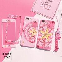 Iphone用8 8プラスカードキャプターさくらケース+強化ガラススクリーンフィルム、ピンクケースiphone用6 6 sプラス7 7プラスxケース+フィルム