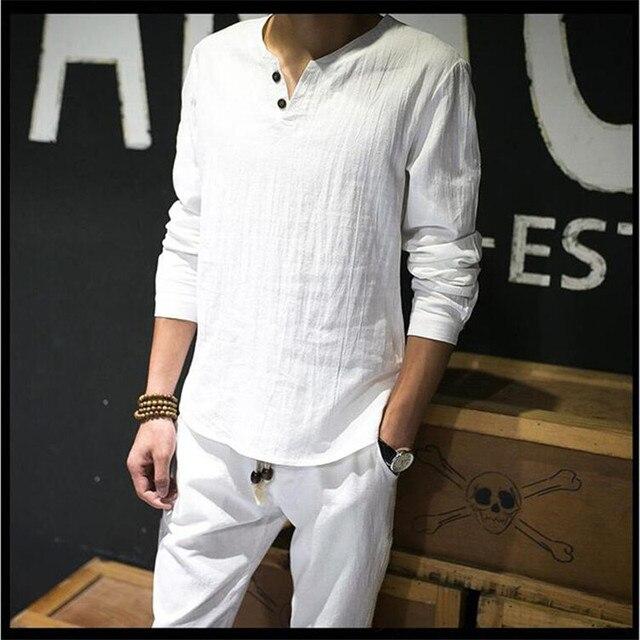 0c152298b6 Camisas de linho Sólida Básica Camiseta de Manga Longa Homens Primavera  Nova Tripulação pescoço Camisetas Moda