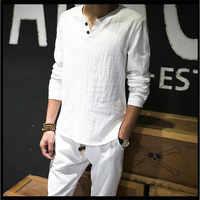 Camisetas de lino sólido básico de manga larga Camiseta hombres primavera nuevo Camisetas cuello redondo de moda hombres Tops Tee talla grande m-4XL 5XL 6XL 7XL