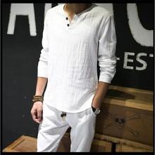 פשתן חולצות מוצק בסיסי ארוך שרוול T חולצה גברים אביב חדש צוות צוואר חולצות אופנה זכר חולצות טי בתוספת גודל m 4XL 5XL 6XL 7XL