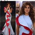 Soayle 2017 novas coleções da sereia ruffles azul-vermelho do baile de finalistas vestidos saudita najwa karam celebridade vestidos vestidos de festa do vintage