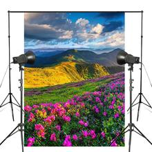 Mountains Sky Grass Clouds Photography Background Azalea Scenery Backdrop Studio Props Wall Bedroom Photo 5x7ft