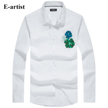 E-artist Men's Slim Fit Business Casual Print Dress Shirts Male Long Sleeve Spring Autumn Formal Cotton Tops Plus Size 5XL C75