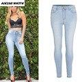 Otoño 2017 de Las Mujeres Pop Pantalones Lápiz Ladies Stretch Flacas Delgadas Jeans Tallas grandes pantalones vaqueros Pantalones
