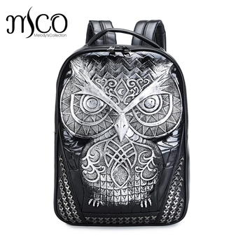 MCO 3D Animal Embossed Owl Head Rivet Gother Backpack For Men & Women High Quality PU Leather Travel Backpacks Laptop School Bag