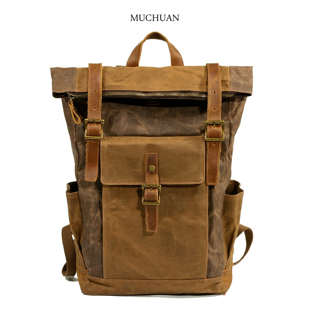 Muchuan oil wax cloth Backpack New European leisure travel bag large volume waterproof canvas bag bag new original nmb 9cm9038 3615rl 05w b49 24v0 73a 92 92 38mm large volume inverter fan
