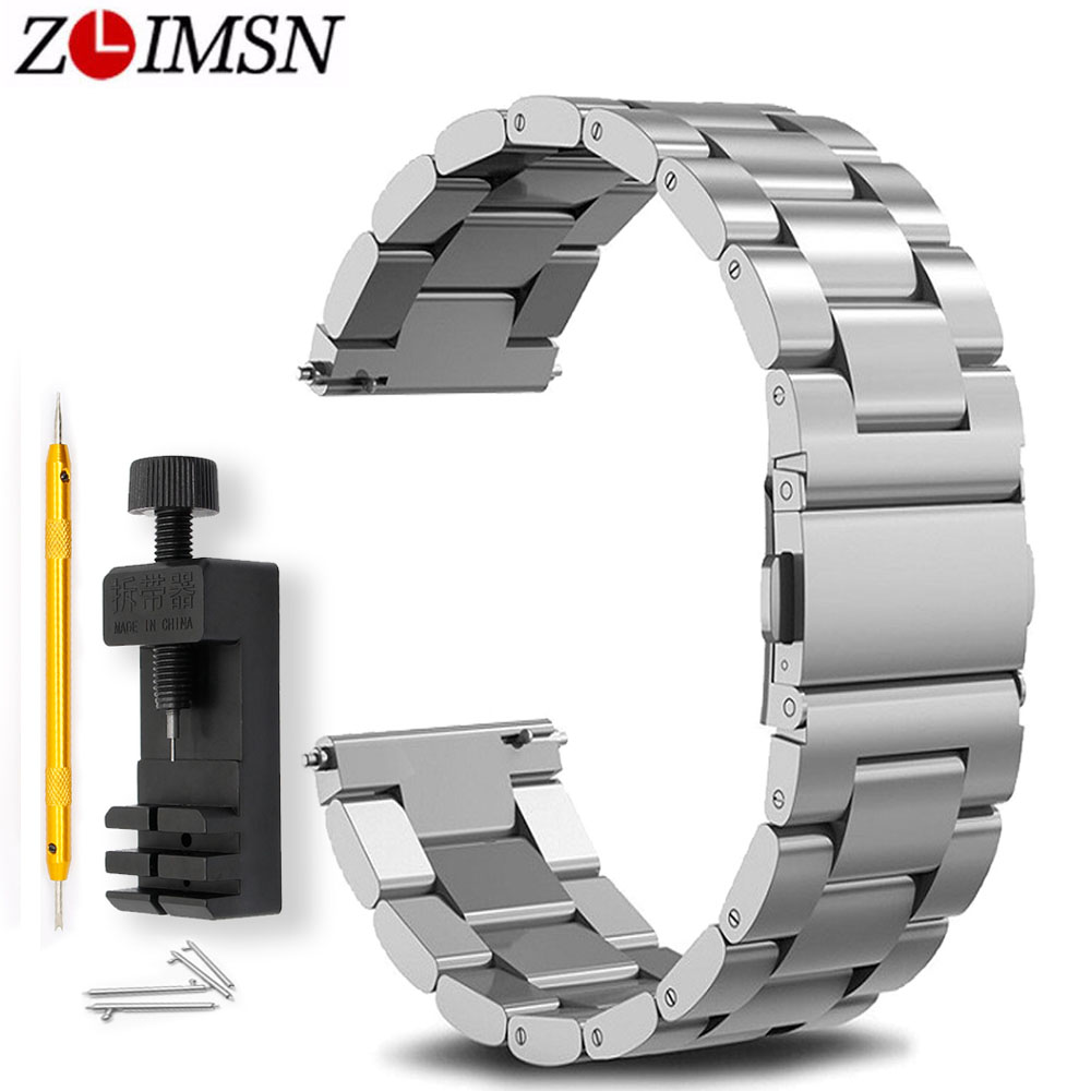 ZLIMSN Quick Release Pins Black Silver Strap 18 20mm 22mm For Mens Women Waterproof Stainless Steel Watchband Send Tool Gifts