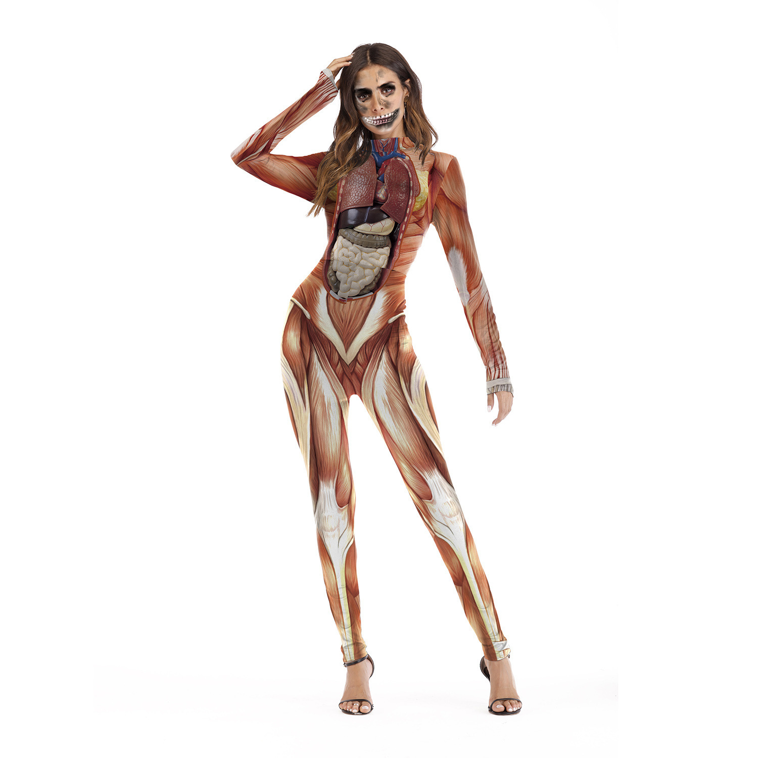 2018 New Sexy Bodysuit Halloween Costumes For Women 3D Realistic Human Body Structure Print Party Jumpsuit Sexy Cosplay Playsuit
