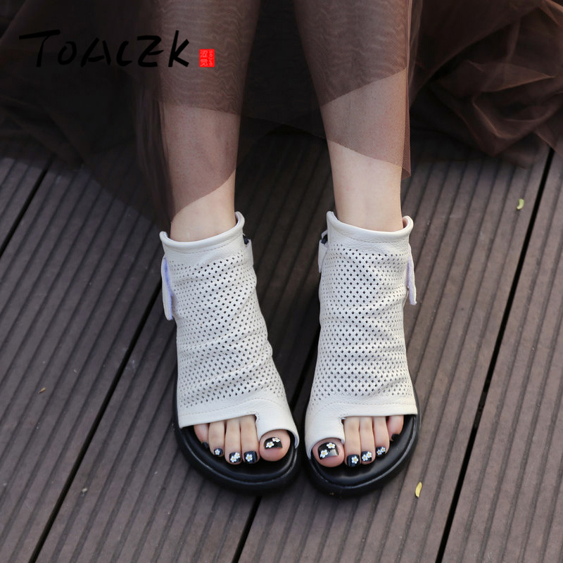 Summer sandals women s slopes and thick soles shoes female leather casual shoes female personality toe