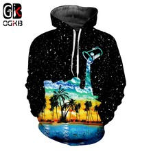OGKB Winter Women/men's Hiphop Streetwear Starry Sky Tracksuits Long Sleeve Pullovers Print Cup Pour Milk 3D Sweatshirt Hoodies(China)