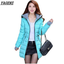 2019 Winter Parka Women Hooded Jacket Basic Coat Candy color Slim Cotton padded