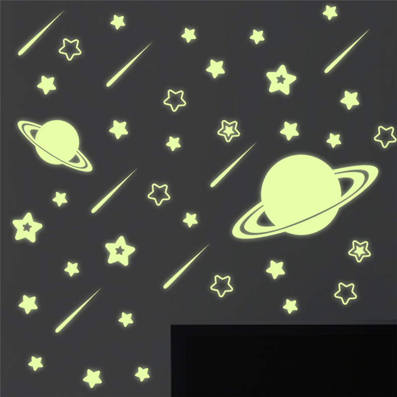 Luminous Outer Space Star Wall Stickers Decals Fluorescent Fairy Moon Stars Kid Room Home Decor