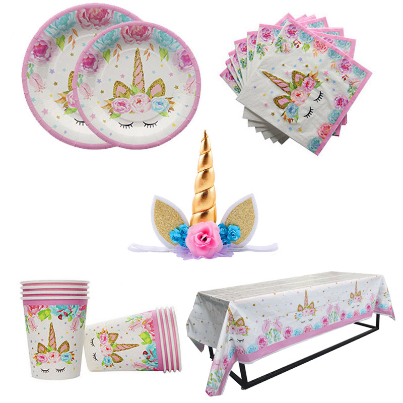 Unicorn Party Decoration Kit Unicornio Plates/Cups/Napkins/Table Cover /Headband Baby Shower Birthday Decors Kids Party Supplies unicorn party birthday decorations unicorn party 20cm artificial rose flowers banner cake topper baby shower party cake decor
