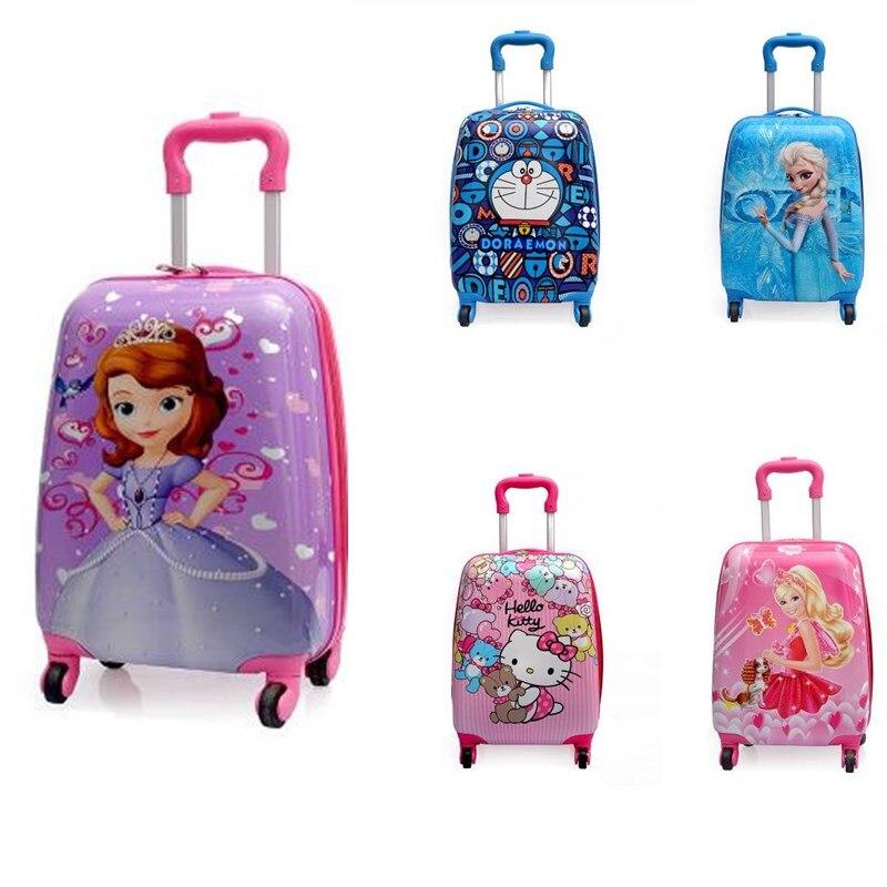 Bande dessinée enfants ABS roulement bagages boîtier de chariot enfants bagages 18 pouces valise à roulettes bagage à roulettes garçon fille sac à roulettes-in Bagages à roulettes from Baggages et sacs    1