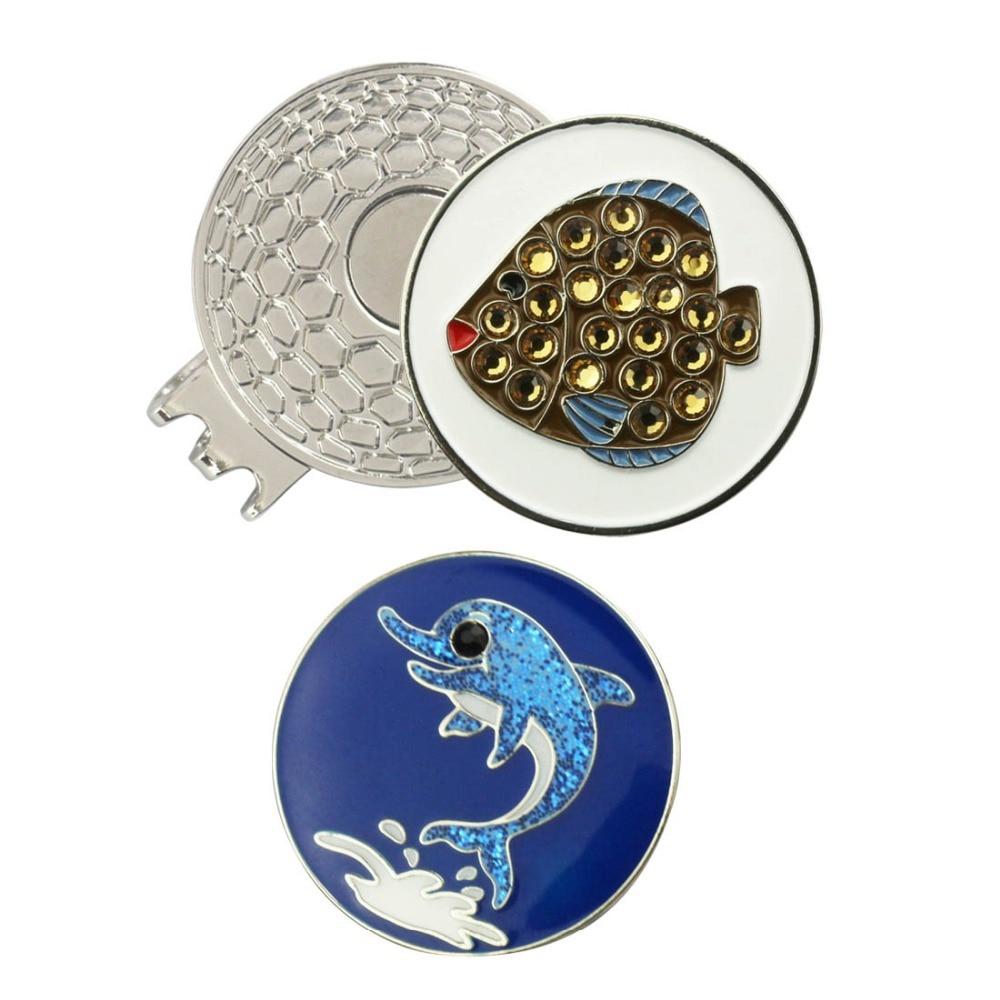 PINMEI Golf Ball Mark Magnetic Hat Clip Set 1pc Crystal Fish Marker&1pc Dolphin Golf Marker&1pc Cap Clip Set For Children Golfer