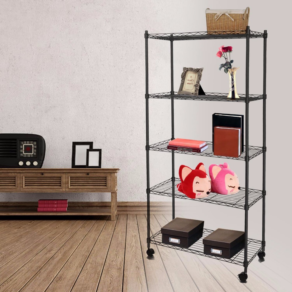 Homdox Classic Metal 5 Shelf Wire Shelving Rack Shelves With Wheels For Living Room