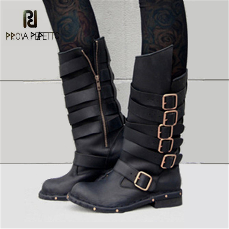 Prova Perfetto Retro Black Women Genuine Leather Mid-Calf Boots Female Platform High Boots Buckle Straps Side Zipper Botas Mujer zippers double buckle platform mid calf boots