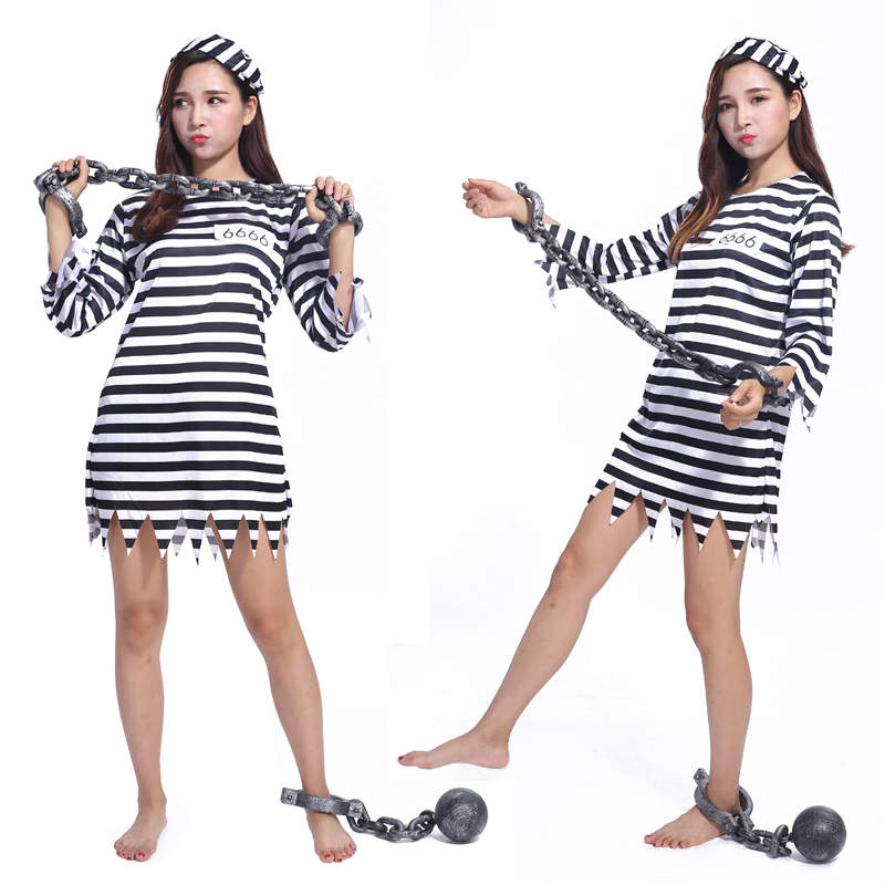 The new adult Halloween costume dress sexy striped inmates cosplay costume adult female prisoners serving performance clothing