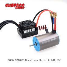 3656 3200KV Brushless Motor & 60A ESC for RC TRAXXAS  1/8 1/10 SCT  Truggy  Buggy  Monster vs Hobbywing EZRUN SC-C2 3650 3660 все цены