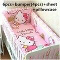 Promoção! 6 pcs olá Kitty fundamento do bebê jogo de cama do bebê cuna pára choques berço, Incluem ( amortecedores + ficha + travesseiro cobrir )