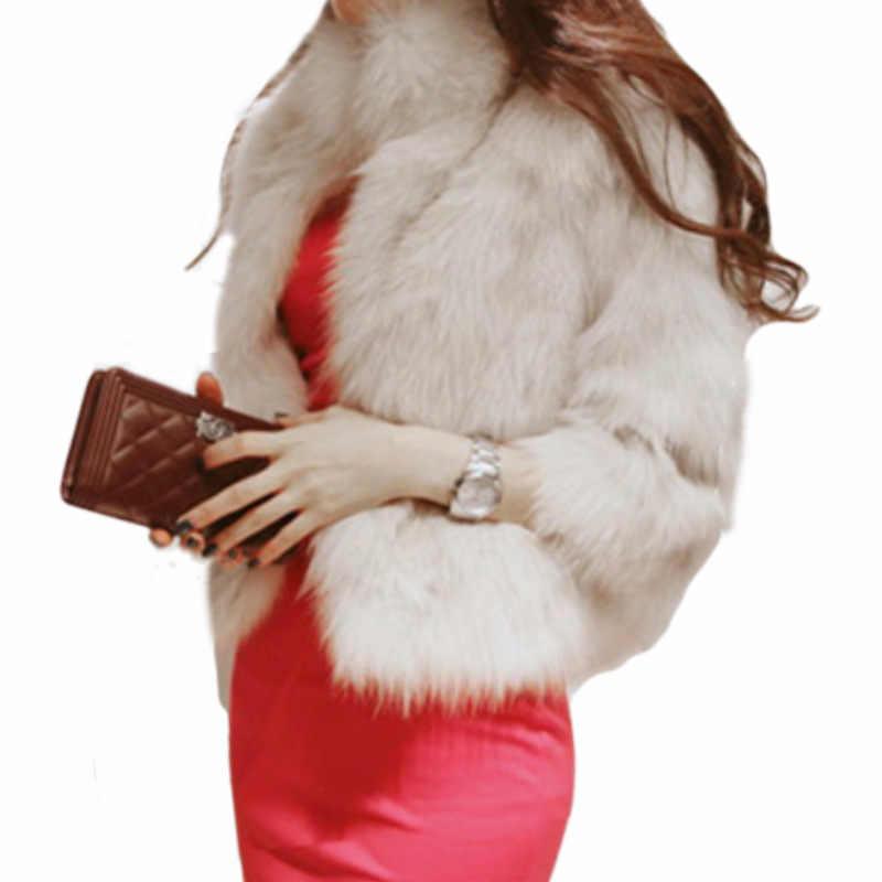 U-SWEAR 2018 новое зимнее пальто Для женщин теплое пальто с воротником из искусственного меха лисы большие Размеры Для женщин со стоячим воротником с длинным рукавом из искусственного меха Меховая куртка меховой жилет меховой