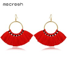 Mecresh Colorful Ethnic Fan shape Tassel Earrings for Girls 2018 Fashion Jewelry Bohemian Statement Fringe Dangle Earring EH1155(China)