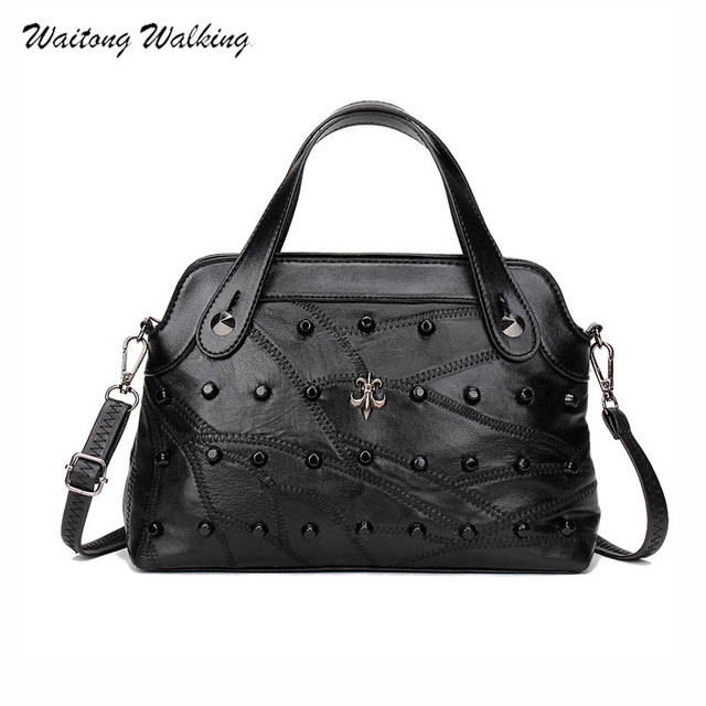 Luxury Women Bags Simple Designer Handbags Brands Black Rivet Shoulder Bag Sheepskin Bolsas Vintage Femininas Leather
