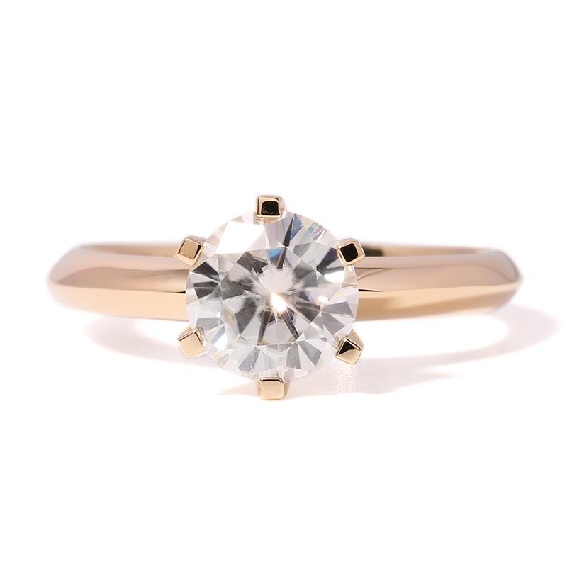 DovEggs Solitare Ring 14K 585 Yellow Gold 2ct 8mm F Color Hearts - Šperky - Fotografie 2