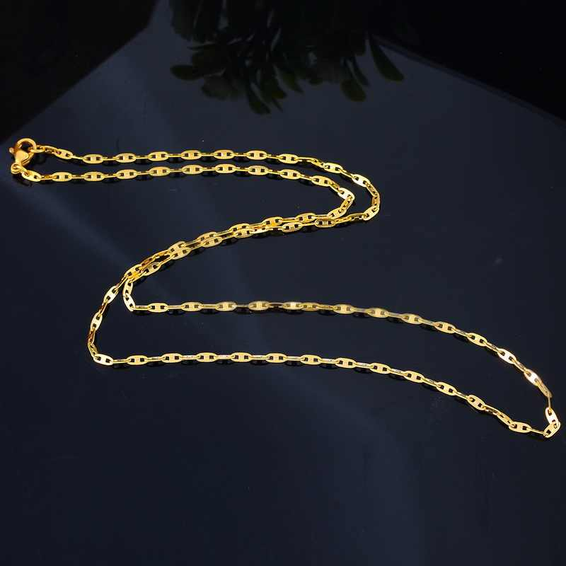 Fine Jewelry 1PC Gold Color Stainless Steel Necklace Cross Tile Chain 51cm Long
