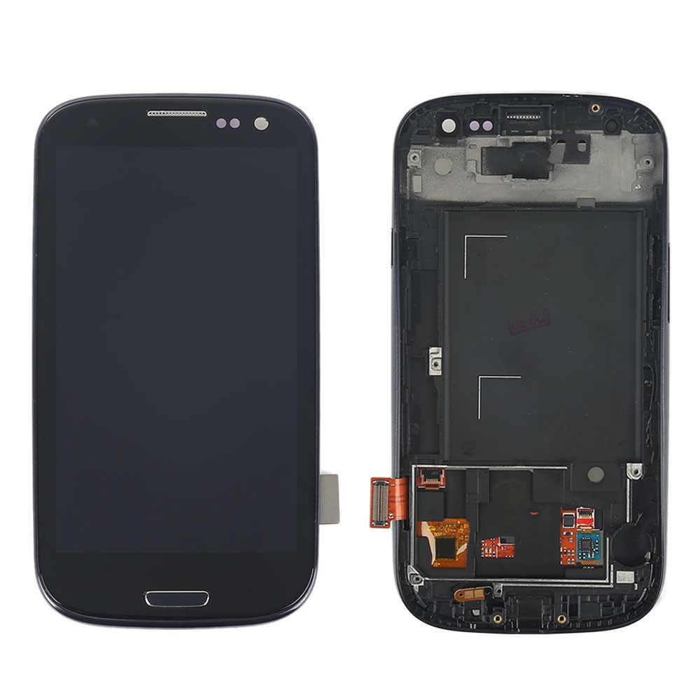 I9300 شاشات lcd لسامسونج S3 عرض I9300 شاشة إل سي دي باللمس الشاشة مع محول الأرقام لسامسونج غالاكسي S3 LCD