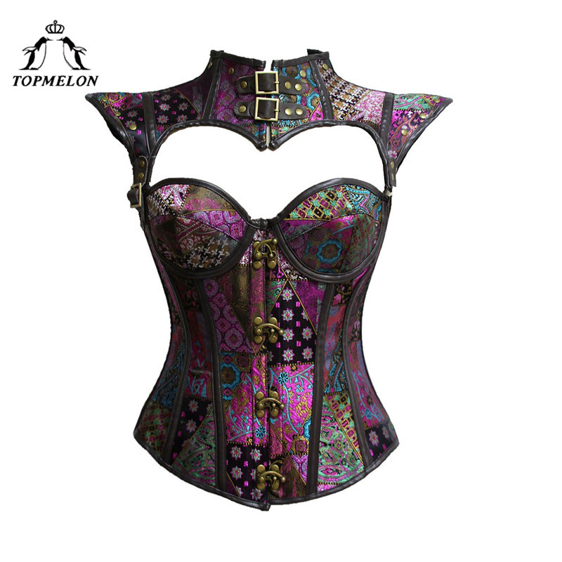 TOPMELON Corset Cut Out Gothic Steampunk Bustier Women Corselet Sexy Retro Slim Rivet Floral Lace Up Hollow Out Tops