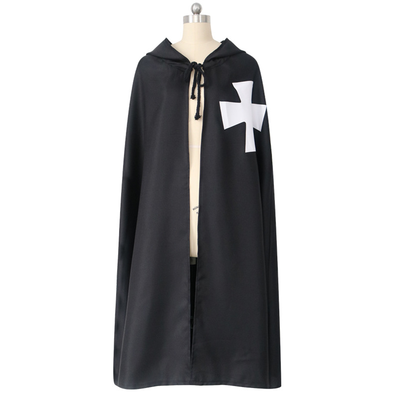 Medieval Cross Printed Hooded Cape Templar Cosplay Cloak Deathe Wizard Devil Cos Halloween Carnival Disguisement White And Black
