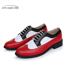 Genuine leather flat shoes women US size 11 handmade black White red 2016 vintage British style oxford for