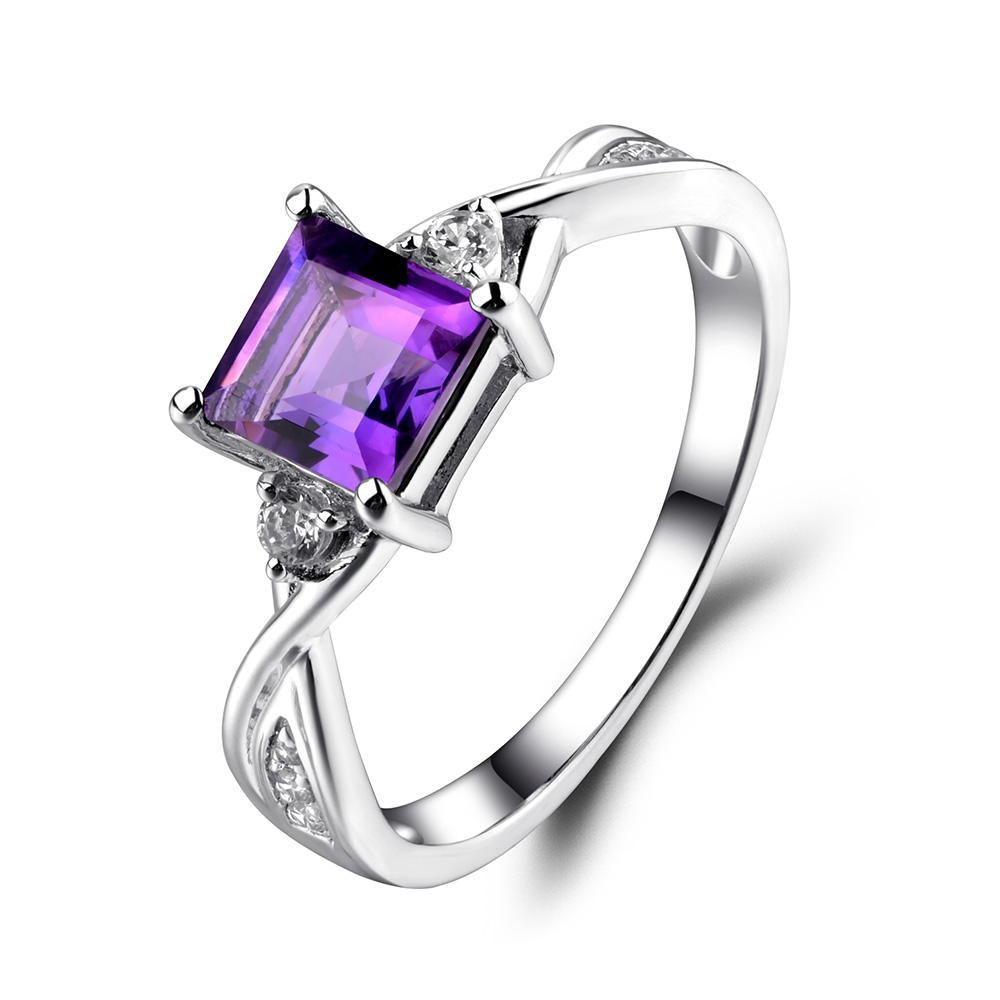 Leige Jewelry Purple Amethyst Wedding Engagement Rings for Women Sterling Silver 925 Square Cut Gemstone Ring Fine Jewelry