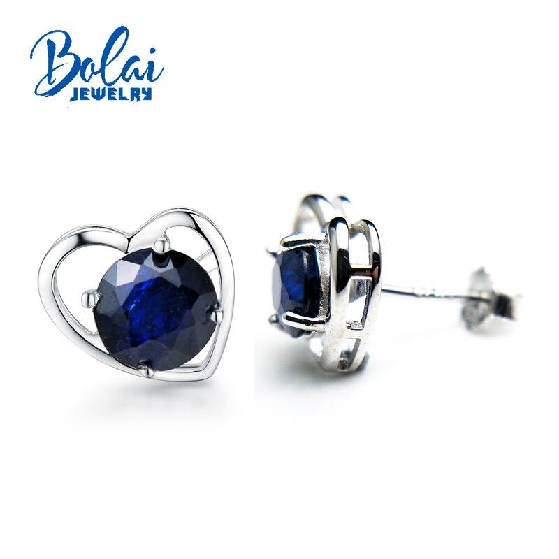 Bolaibijoux, boucle d'oreille vintage avec saphir naturel pierre précieuse en argent sterling 925 bijoux fins pour mariage d'anniversaire, meilleur cadeau