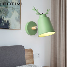 BOTIMI Nordic Deer Decor LED Wall Lamp With Metal Lampshade For Bedroom Modern White Wall Sconce Green Bedside Lighting Fixtures(China)