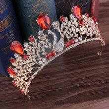 Jewelry-Accessories Swan Bride-Crown Rhinestone Tiara-Design Pearl Crystal Wedding Hair