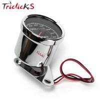 Triclicks 12V 0 180km H Silver Universal Odometer Dual Speedometer Gauge LED Backlight Signal Light Digital