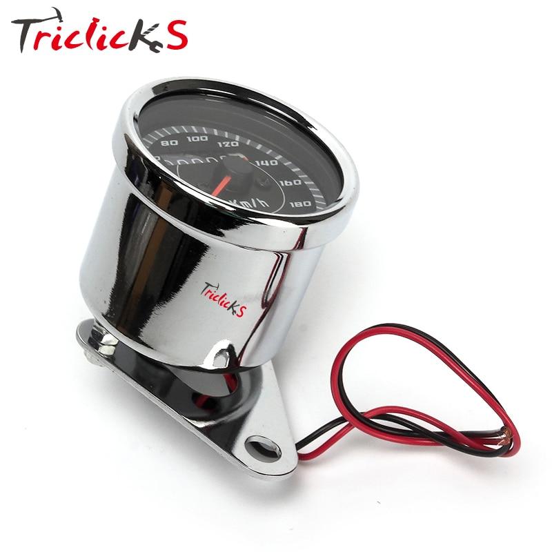 Triclicks 12V 0-180km / h ezüst univerzális sebességmérő kettős - Motorkerékpár tartozékok és alkatrészek